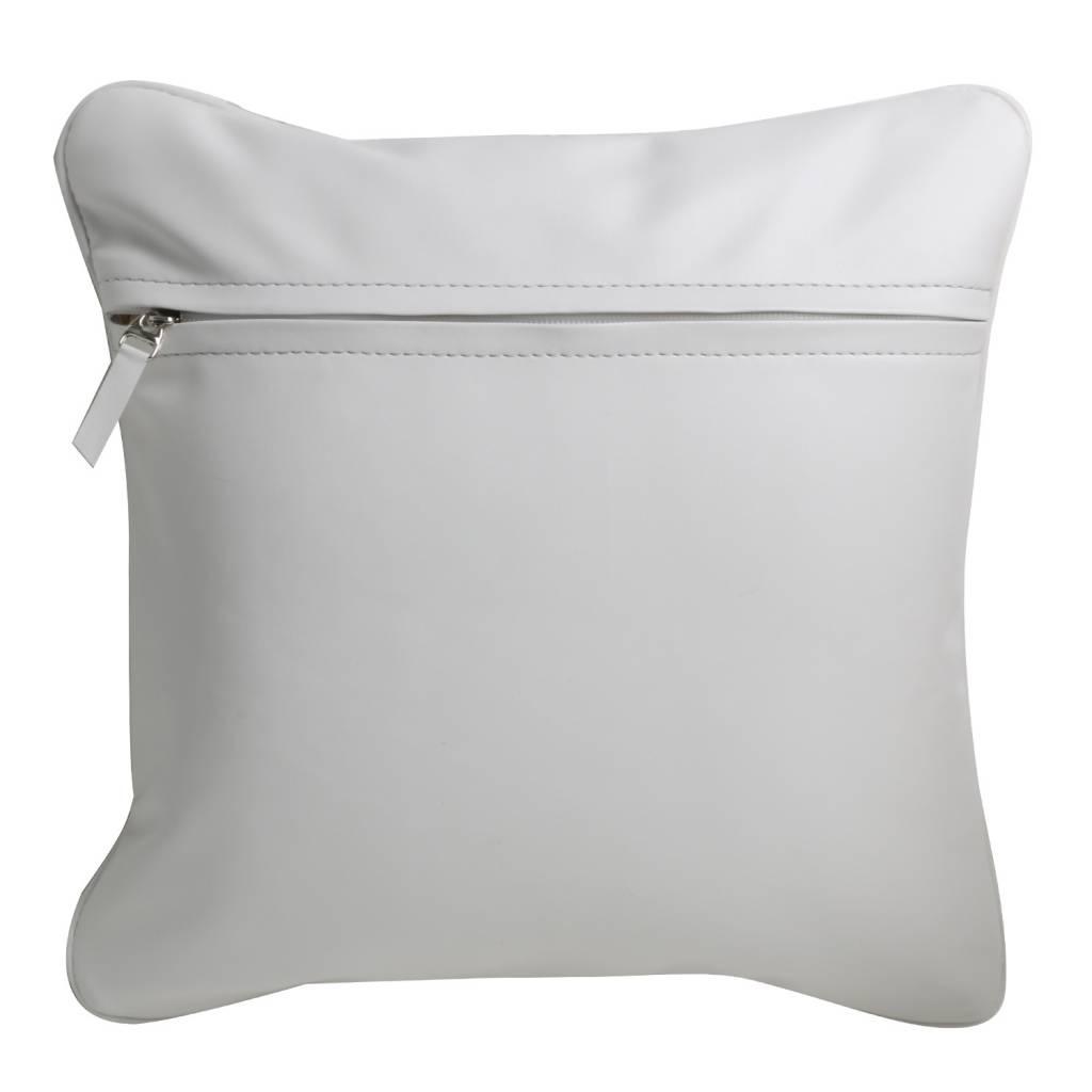 Kissenbezug  aus Kunstleder in weiß, 40 x 40 cm