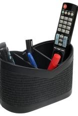 Elegante Multifunktionsbox/Utensilo aus schwarzem Kunstleder