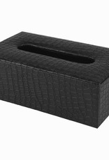 Elegante Tissuebox aus schwarzem Kunstleder