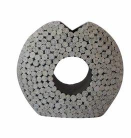 Frühlings- Sonderaktion 50% Rabatt Ausgefallene runde weiße Vase in Pacmanform (H 39 cm) aus Recyclingpapier, handgefertigt