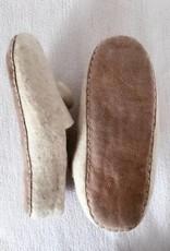 Handgemachte Filzpantoffeln, Weiß