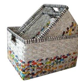 Frühlings- Sonderaktion 50% Rabatt Ausgefallene bunte Körbe (3er Set) aus Recyclingpapier, handgefertigt