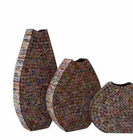 Bunte ausgefallene Vasen Oval 3 tlg. Set, aus Recyclingpapier, handgefertigt