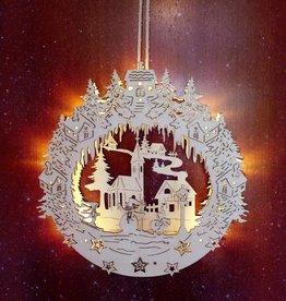 """3D Holzbild """"Haus"""" Weihnachtsdeko beleuchtet"""