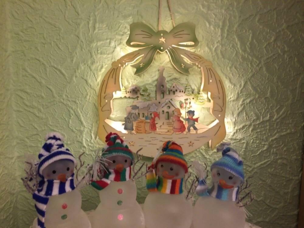 """3D Holzbild """"Kinder"""" Weihnachtsdeko beleuchtet"""