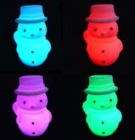 LED Schneemann Beleuchtung, Kabellos mit Farbwechsel, Fernbedienung, Akku, 18 cm x 14 cm x 25 cm