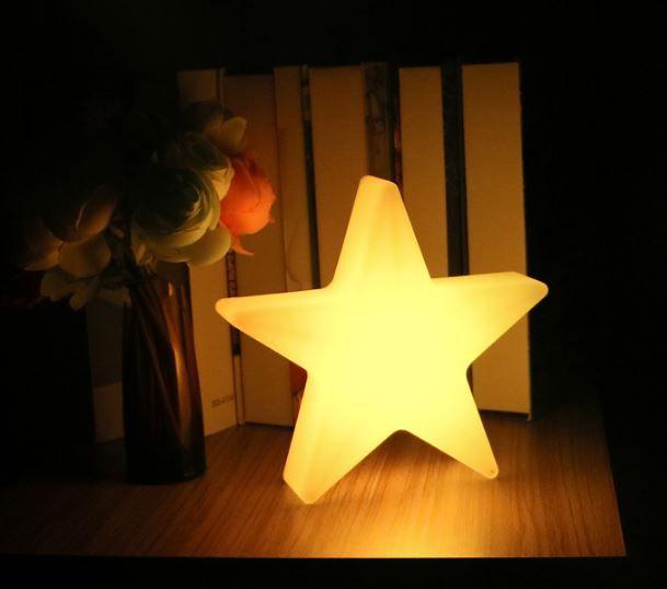 LED Stern Beleuchtung, kabellos mit Farbwechsel, Fernbedienung, Akku, 60 cm x 60 cm x 15 cm