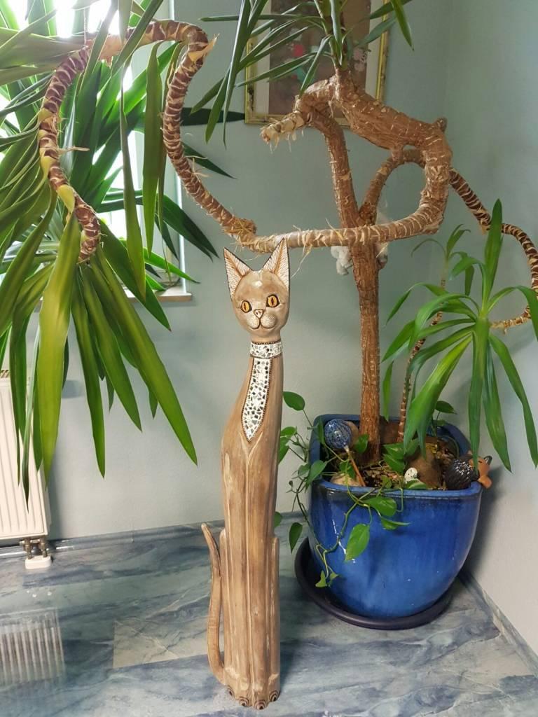 Edle Katze aus Holz mit Spiegel-Mosaik, Höhe 120 cm, handgefertigt aus Bali