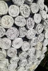 Ausgefallene runde weiße Vase in Pacmanform (H 39 cm) aus Recyclingpapier, handgefertigt