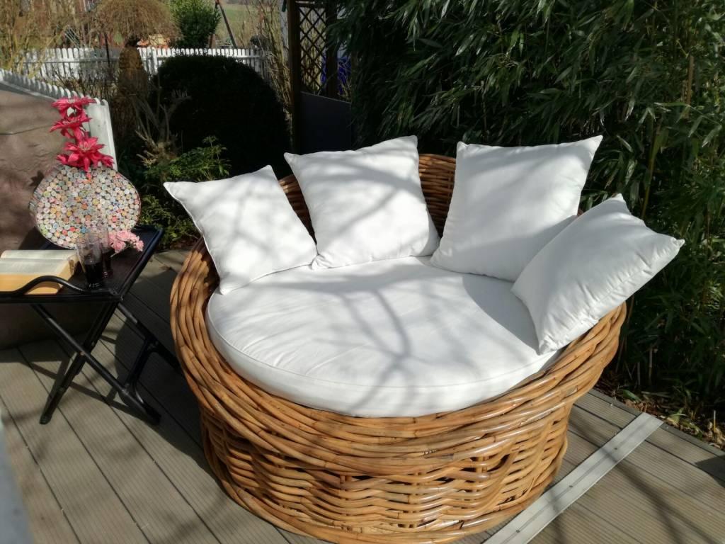 bulat xxl sessel aus natur rattan f r 2 personen korbsessel inkl kissen decor of world. Black Bedroom Furniture Sets. Home Design Ideas