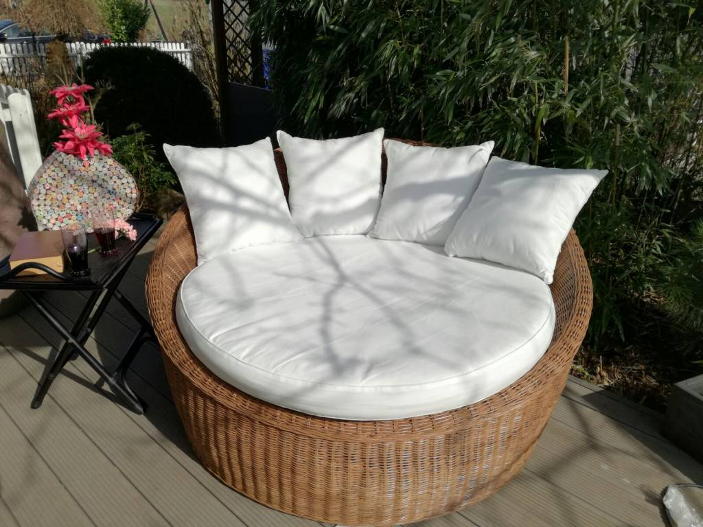 rattan natur runder korbsessel sofa 160cm set inkl tisch fussablage kissen decor of world. Black Bedroom Furniture Sets. Home Design Ideas
