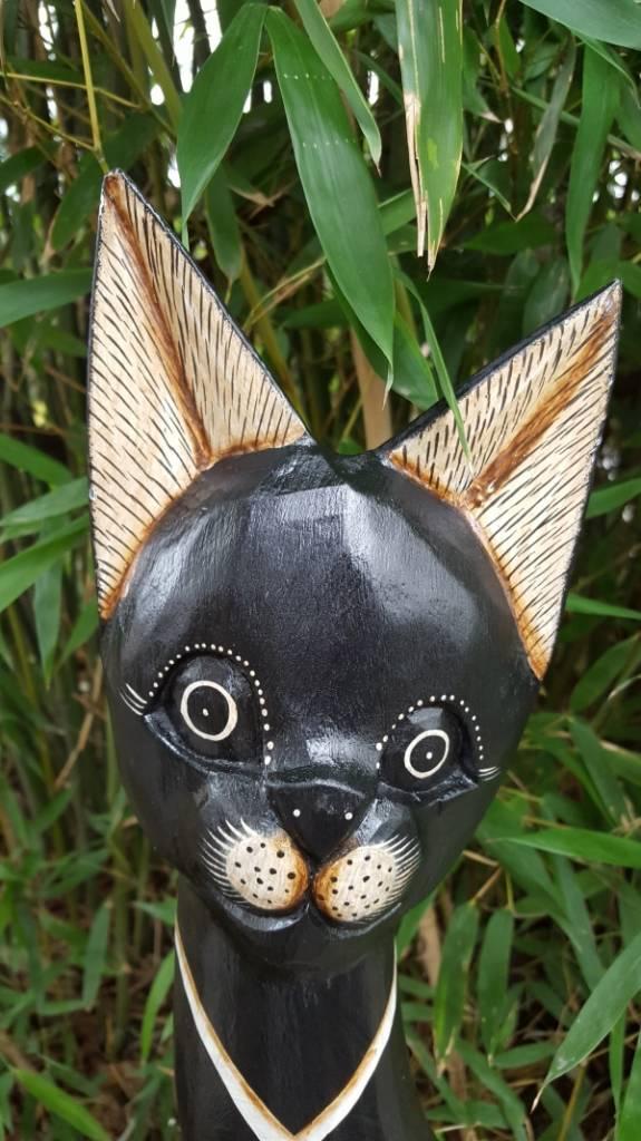 Edle Katze aus Holz, schwarz mit Spiegel-Mosaik, Höhe 100 cm, handgefertigt aus Bali