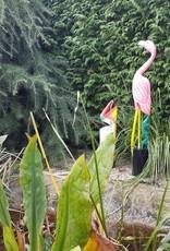 Farbenfroher Flamingo aus Holz, bunt, Höhe 100 cm, handgefertigt aus Bali