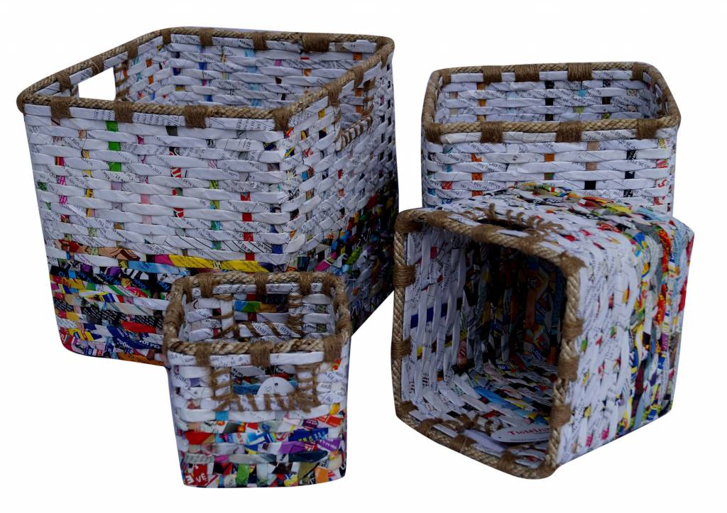 Ausgefallene bunte Körbe (3er Set) aus Recyclingpapier, handgefertigt