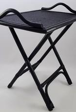 Rechteckiger schwarzer Beistelltisch/Tabletttisch/Serviertisch aus Naturrattan