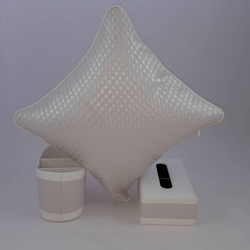 Kosmetiktücherbox, Utensilo und Kissen aus weißem Kunstleder,  Deko Set + Geschenk gratis