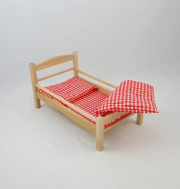 Frühling Sonderaktion 25% Rabatt Süßes Puppenbett aus Holz mit rot-weiß kariertem Bezug
