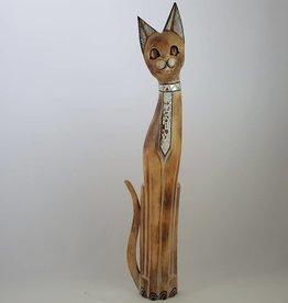 Edle Katze aus Holz mit Spiegel-Mosaik, natur, Höhe 100 cm, handgefertigt aus Bali