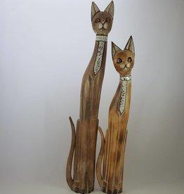 Elegante Katzen 2er Set (120 cm + 100 cm), mit Spiegel-Mosaik, Holz, handgefertigt