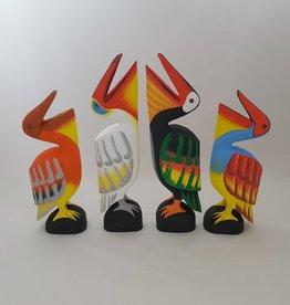 Wunderschöne bunte Pelikane 4-er Set, aus Holz, handgefertigt, Bali