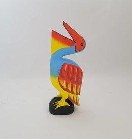 Wunderschöner Pelikan aus Holz, blau, Höhe 50 cm, handgefertigt aus Bali