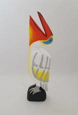 Wunderschöner bunter Pelikan aus Holz, weiß, Höhe 60 cm, handgefertigt, Bali