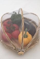 Wunderschöner Obstkorb/Obstschale aus Bambus mit weißem Fliegennetz