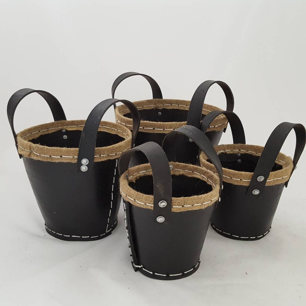 Decor Of World Tragekörbe  4er Set - aus recycelten Autoreifen mit Jute