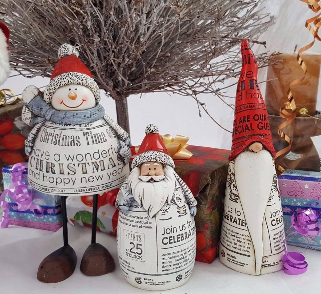 Decor Of World Weihnachtsfreunde 3 Set - Schneemann, Wichtel und Weihnachtsmann