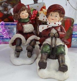 Decor Of World Figur 2er Set - Winterkinder auf Schlitten