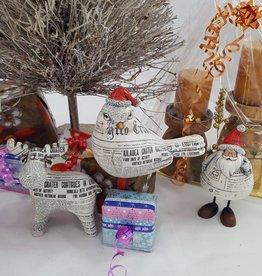Decor Of World Weihnachtsfiguren 3er Set im Zeitungsdruck - Elch, Vogel und Weihnachtsmann