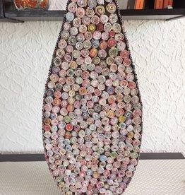 Ausgefallene bunte ovale Vase in Tropfenform (H 60 cm) aus Recyclingpapier, handgefertigt