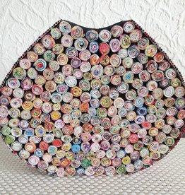 Ausgefallene bunte ovale Vase (H 30 cm) aus Recyclingpapier, handgefertigt