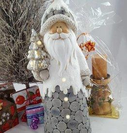 Decor Of World Großer Weihnachtsmann mit Tannenbaum in Holzoptik, mit Beleuchtung, 56 cm