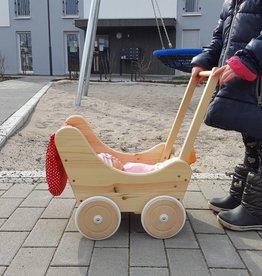 Decor Of World Frühling Sonderaktion 30% Rabatt Holzkarren mit Bettwäsche Puppenwagen aus Holz inklusive Decke