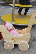 Decor Of World Holzkarren mit Bettwäsche Süßer Puppenwagen aus Holz inklusive Decke