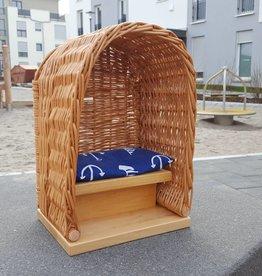 Decor Of World Frühlings- Sonderaktion 30% Rabatt Süßer Strandkorb für Puppen  aus Weide geflochten - mit Sitzunterlage