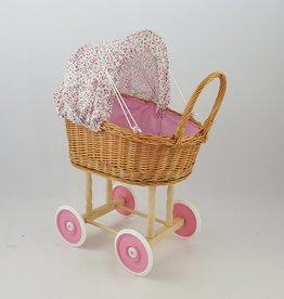Decor Of World Frühling Sonderaktion 30% Rabatt Süßer Puppenwagen aus Weide geflochten - rosa Blüten, inkl. Decken und Kissen