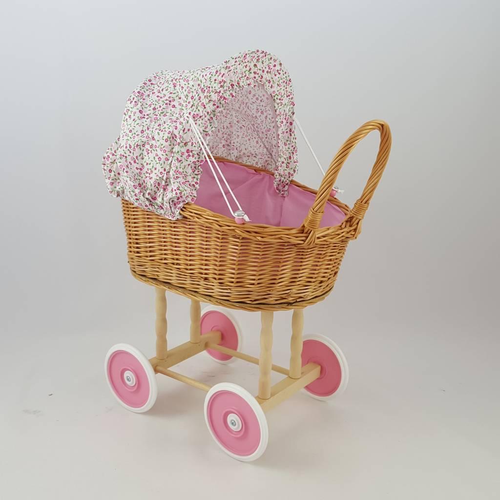 Decor Of World Süßer Puppenwagen aus Weide geflochten - rosa Blüten, inkl. Decken und Kissen