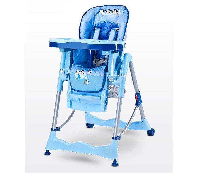 Kinderstoel Magnus Funny blauw heeft een leuke vrolijke print