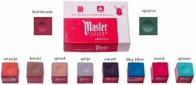 Afbeelding van Krijt Master biljart krijt 12 stuks diverse kleuren.