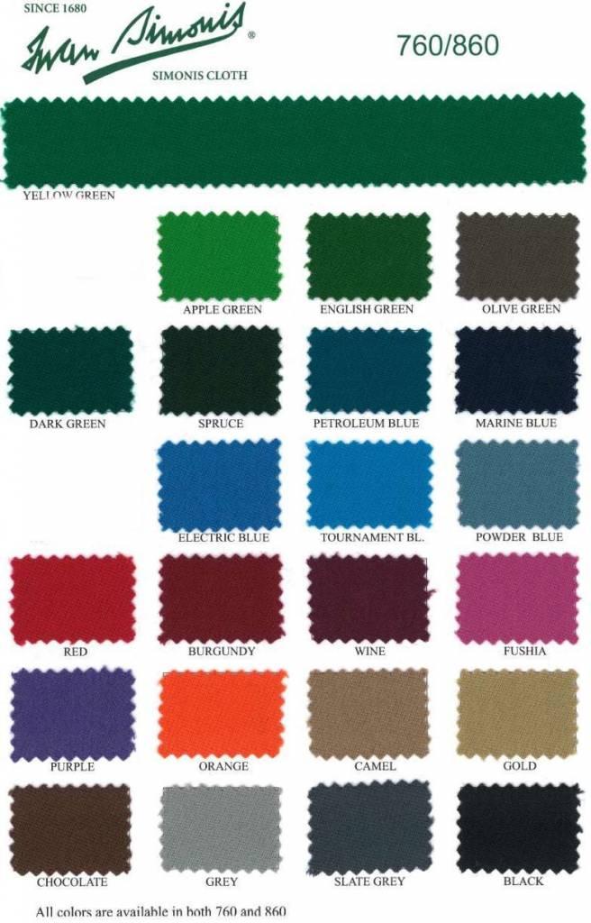 Afbeelding van Biljartlaken Poolbiljart laken Simonis 760 diverse kleuren. Compleet laken 165 cm breed 290 cm lang