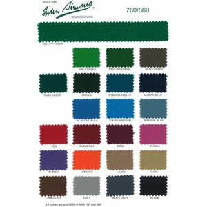 Pool table cloth Simonis 760 various colors. Complete sheet 195 cm wide 290 cm long