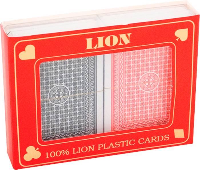 Afbeelding van LION-GAMES Speelkaartenset LION 100% plastic duobox, Poker