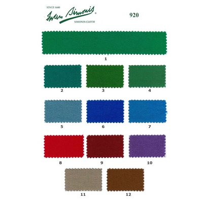 Biljartlaken Pool table cloth Simonis 920 various colors. per 10 cm 165 cm wide