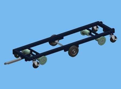 Transportvogn 187 x 60 cm midterhjul, flangerulle, 550 mm