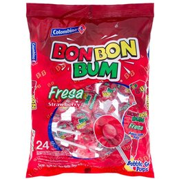 Colombina BonBon Bum Strawberry Lollipop.