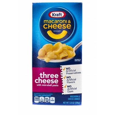 Kraft kraft Macaroni & Cheese Three Cheese 206 g with mini-shell pasta
