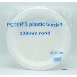 Plastic plates 230mm around 25 pieces
