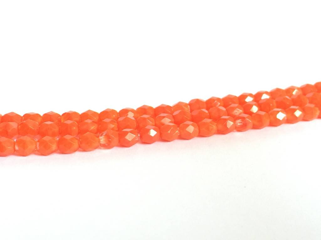 Glasschliffperlen feuerpoliert 4mm, Farbe 79 Orange Moonlight